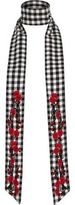 River Island Womens Black and white floral gingham skinny scarf