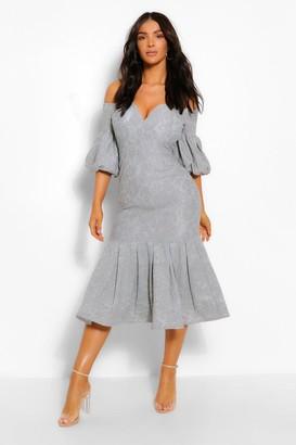 boohoo Lace Plunge Puff Sleeve Frill Hem Midi Dress