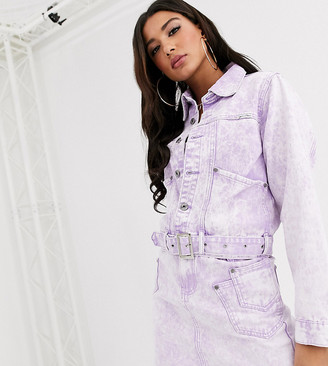 N. Liquor Poker belted denim jacket suit in acid wash two-piece