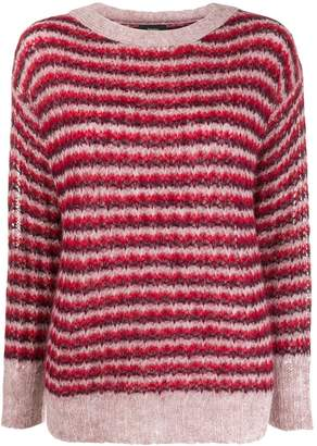 Theory striped round-neck jumper