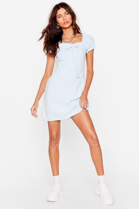 Nasty Gal Womens Strings Attached Lace-Up Mini Dress - Blue - 6, Blue
