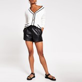 River Island Womens Black faux leather elasticated shorts