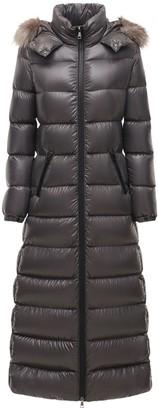 Moncler Hudson Long Nylon Laque Down Coat