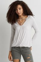 American Eagle Outfitters AE Soft & Sexy Cross-Front T-Shirt