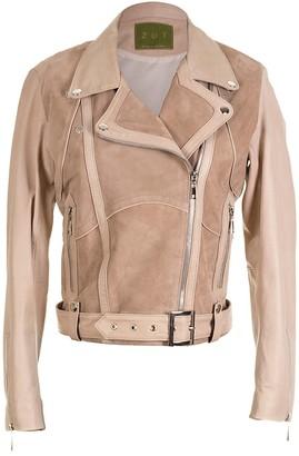 "Zut London ""Classic Combined Suede & Leather Biker Jacket With Belt & Buckle - Beige"""