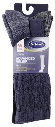 Dr. Scholl's Women's Advanced Relief Crew Socks with BlisterGuard 2 Pack