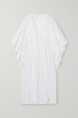 Charo Ruiz Ibiza Angela Crocheted Lace-paneled Cotton-blend Voile Robe - White