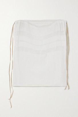 CARAVANA + Net Sustain Chunox Suede-trimmed Cotton-gauze Top - White