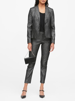 Banana Republic Petite Classic-Fit Metallic Plaid Blazer