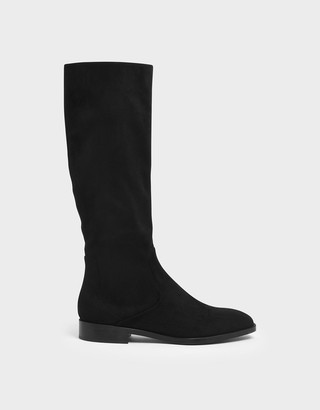 Charles & Keith Textured Zip-Up Knee High Flat Boots