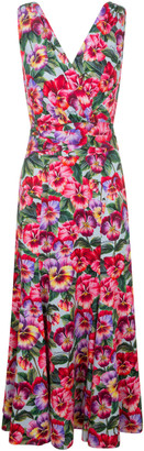 Dolce & Gabbana V-neck Sleeveless Floral Print Dress