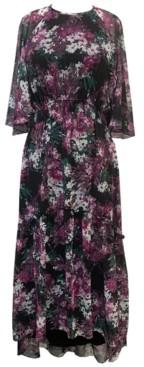 Taylor Plus Size Floral-Print Chiffon Midi Dress