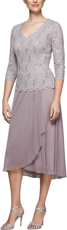 Alex Evenings Tea Length Lace & Chiffon Mock Two-Piece Dress