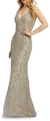 Mac Duggal Bugle Bead Leaf Column Gown