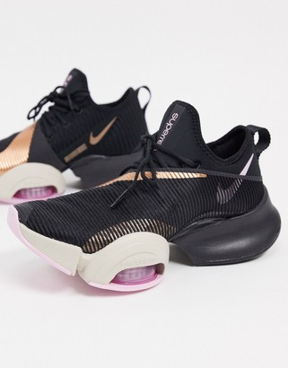 Nike Training Air Zoom SuperRep trainers in black and gold