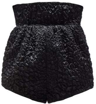 Saint Laurent High-rise Croc-effect Smocked Satin Shorts - Womens - Black