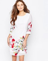 Yumi Skater Dress With Floral Border Print