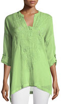 Johnny Was Lusana Georgette Embroidered Blouse, Plus Size