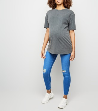 New Look Maternity Ripped Over Bump Skinny Jeans