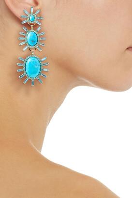 Elizabeth Cole 24-karat Gold-plated, Turquoise And Swarovski Crystal Earrings