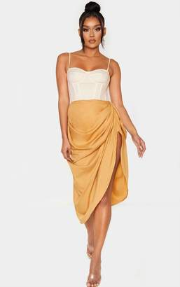 PrettyLittleThing Red Ruched Side Midi Skirt