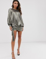 Asos Design DESIGN blouson oversized all over sequin mini dress