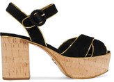 Prada Metallic Leather-trimmed Suede Platform Sandals - Black