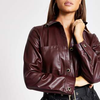 River Island Womens Dark Red faux leather long sleeve shirt