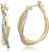 FINE JEWELRY 1/4 CT. T.W. Diamond Hoop 10K Yellow Gold Earrings