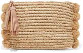 Loeffler Randall Pompom-embellished Leather-trimmed Straw Clutch - Beige