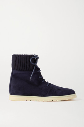 Loro Piana Ontario Ribbed Cashmere-trimmed Suede Ankle Boots - Navy