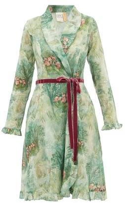 La Costa Del Algodón La Costa Del Algodon - Eugenie Flamingo-print Cotton-muslin Robe - Womens - Green Print