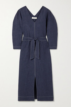 Sea Maxine Tie-front Linen Midi Dress - Indigo