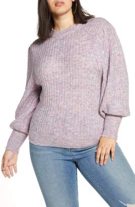Leith Ribbed Puff Shoulder Sweater