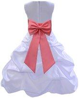 ekidsbridal Wedding Pageant Bridesmaids Party Formal Satin White Flower Girl Dress0t