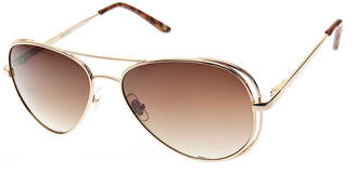 Nine West Women's Sunglasses GOLD - Gold & Tortoise Double-Rim Aviator Sunglasses