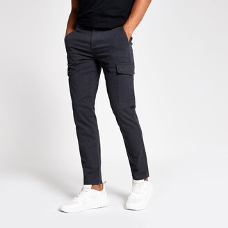 River Island Mens Navy textured skinny cargo trousers