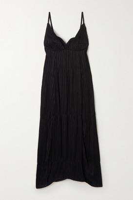 Jil Sander Novella Tiered Plisse-crepe Midi Dress - Black