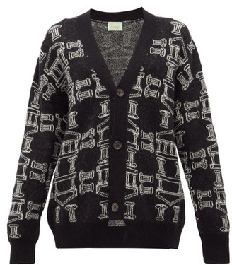 Aries Temple-jacquard Cardigan - Womens - Black White