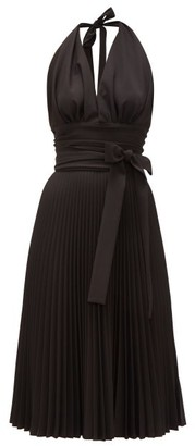 Sara Battaglia Halterneck Pleated Crepe Dress - Black
