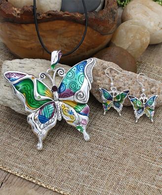 Besheek BeSheek Women's Earrings - Silvertone Rainbow Butterfly Pendant Necklace & Earrings