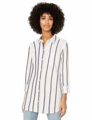 Goodthreads Amazon Brand Women's Lightweight Twill Long-Sleeve Button-Front Tunic Shirt