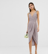 TFNC bridesmaid exclusive wrap midi dress with embellished shoulder in grey