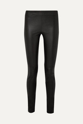 The Row Moto Stretch-leather Leggings - Black