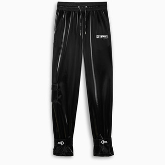 Off WhiteTM Black shiny velvet jogging pants