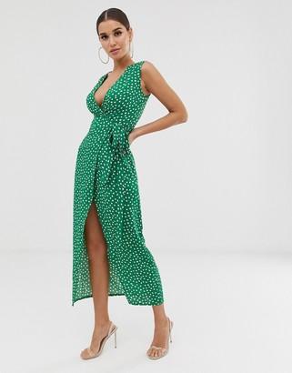Club L London tie waist plunge dress in polka dot-Green