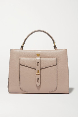 Tom Ford T Twist Small Textured-leather Shoulder Bag - Taupe