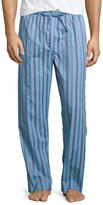 Derek Rose Satin-Striped Pajama Pants, Light Blue