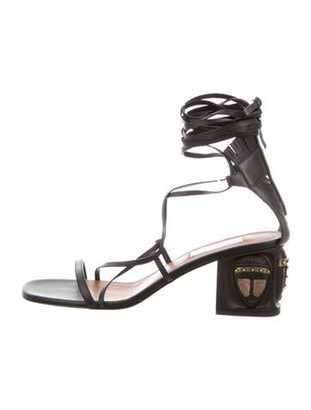 Valentino Leather Studded Accents Gladiator Sandals Black