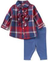 Ralph Lauren Baby Girls 3-24 Months Plaid Top & Solid Leggings Set